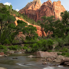 Bridge over the Virgin by Nancy Arehart - Landscapes Waterscapes ( national park, virgin river, long exposure, morning, zion )