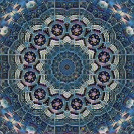 Blue Kaleidoscope by Johnny Knight - Novices Only Abstract ( kaleidoscope, creative, blue, digital art, symmetry, geometric )