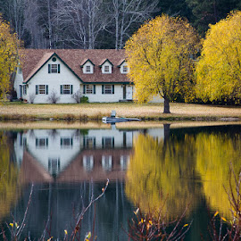 Autumn At Home by Ron Mullins - Buildings & Architecture Homes ( home, reflection, autumn, trees, lake, leaves )