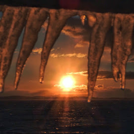 Fire and ice by Ann Goldman - Novices Only Landscapes ( winter, sunset, ice, icicles, frozen )