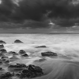 Fanore B&W 4-11-2017 by John Holmes - Black & White Landscapes ( stiorm, ireland, waves, sea, beach, cold, fanore, sunset, clare, long exposure, stones, evening, black ad white )