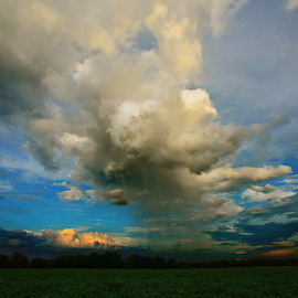 Clarity by Brian Curnel - Landscapes Cloud Formations ( clear, stormy, clouds, colorful, farmland, shower, spring, rural )