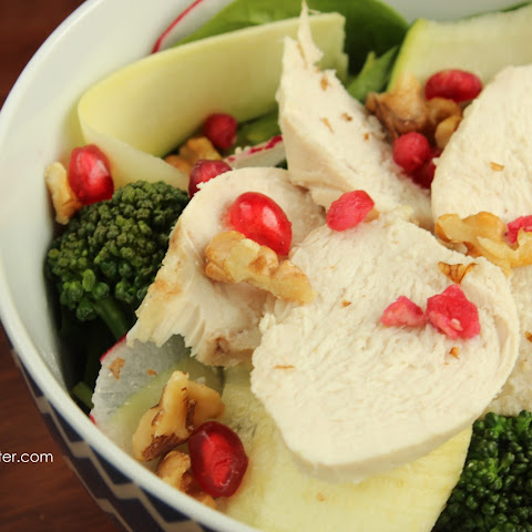 Poached Chicken Salad with Honey Saffron Dressing