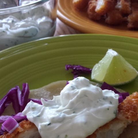 Authentic Fish Tacos with lime-cilantro sour cream sauce