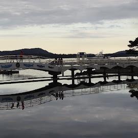 Bridge reflections by Carol Leynard - Buildings & Architecture Bridges & Suspended Structures ( footbridge, reflections, waterfront, bridge )