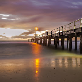 Seaford Pier by Peter Nguyen - Buildings & Architecture Bridges & Suspended Structures ( water, wind, sunset, seaford pier, sea, pier, after sunset, seaford,  )