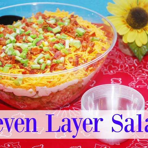 Seven Layer Salad with Blue Plate Light Greek