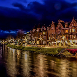 Inverness Riverside at dusk .  by Gordon Bain - City,  Street & Park  Night ( cityscape, river ness, inverness )