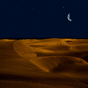 Night Sand by Gusti Yogiswara - Landscapes Deserts ( sand, moon, desert, stars, night, walk )