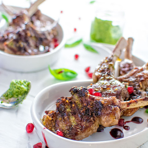 LAMB CHOPS WITH PESTO AND POMEGRANATE SAUCE