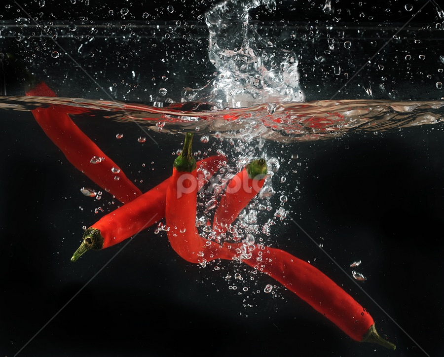 chili splashing by Ismed  Hasibuan  - Food & Drink Fruits & Vegetables ( water, foods, red, splashing, vegetables, bubbles, hot, chili )