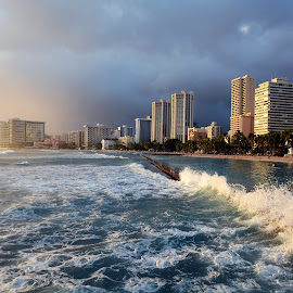 Waikiki Beach by Jesus Heras - City,  Street & Park  Skylines ( honolulu, beach, oahu, hawaii, waikiki )
