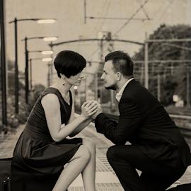 Farewell by Roman Kolodziej - People Couples ( old, farwell, train, couple )