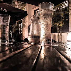 Cold Beer by Michael Lee - Food & Drink Alcohol & Drinks ( cold beer, bistro, night )