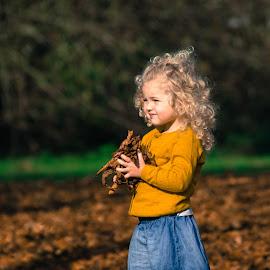 Autumn Leaves by Jim Edginton - Babies & Children Children Candids ( child, blonde, autumn, candid, leaves )
