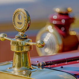 How cars were made. by Eva Krejci - Transportation Automobiles ( car, red, emblem, vintage, color, lamp, brass )