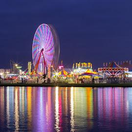 State Fair by Donna Vasquez - City,  Street & Park  Amusement Parks ( lights, reflection, timed exposure, georgia national fair, fair, ferris wheel )