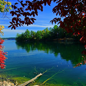 Lake Jocassee Autumn by Jonathan Wheeler - Landscapes Waterscapes ( morning sun, fall colors, autumn leaves, devils fork state park, lake jocassee )