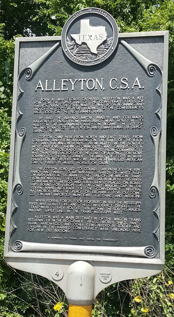 ⠀⠀⠀⠀⠀⠀State of Texas ⠀⠀⠀⠀⠀⠀Erected in 1963 ⠀⠀⠀⠀⠀⠀Alleyton, C. S. A. ⠀⠀⠀BORN AS WAR CLOUDS GATHERED, ALLEYTON WAS A KEY POINT ON THE SUPPLY LINE OF THE CONFEDERATE STATES OF AMERICAN DURING THE CIVIL ...