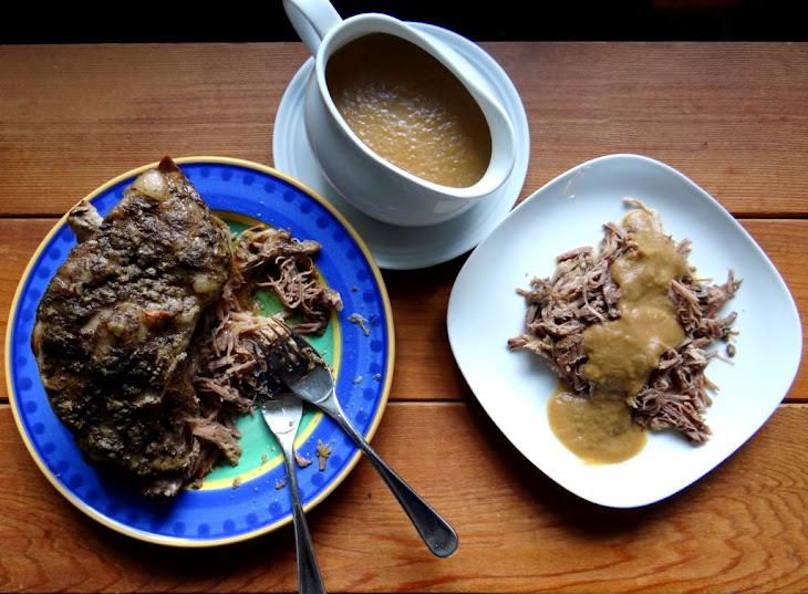 Roast Pork with Onion Apple Gravy Recipe | Yummly