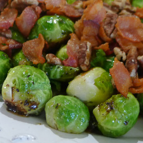 Roasted Brussels Sprouts with Maple Bacon Dressing