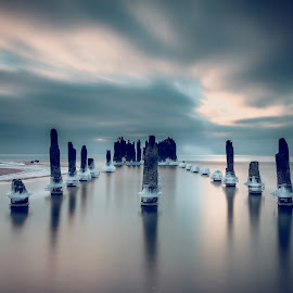 Time Guardians by Ruslan Bolgov - Landscapes Waterscapes ( water, clouds, reflection, sventoji, long exposure, seascape, lithuania )