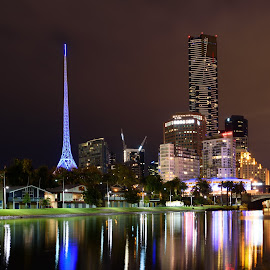 Melbourne's Southbank by Scott Cove - City,  Street & Park  Skylines ( skyline, reflection, melbourne, australia, buildings, night, victoria, river )