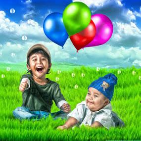danish n rayyan by Hafiz Othman - Digital Art People ( digital art, kids, baby, manipulation )