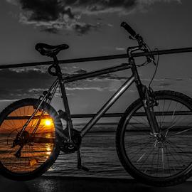 Dear Bike! by Jesus Giraldo - Transportation Bicycles ( concept, wheel, bycicle, color, sunset, art, lake )