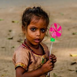 Innocent Surprise by Vijayanand Celluloids - Babies & Children Child Portraits ( girl child, child, innocent, play, innocence, surprise,  )