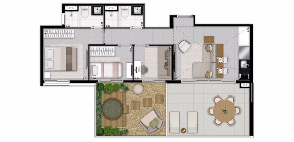 Planta Cobertura com Sala Ampliada de 107 m²