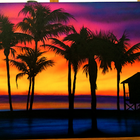 Beach at Sunset by Kevin Adams - Painting All Painting