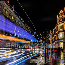 Light Trails of London by Richie Hall - City,  Street & Park  Street Scenes ( london, oxford st, street, christmas lights, light trails, long exposure, street photography )