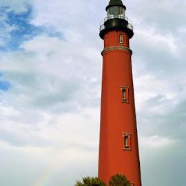 Ponce de Leon Inlet Lighthouse by Chris Snyder - Novices Only Landscapes ( building, fl, florida, lighthouse, ponce de leon inlet, beach, rainbow )