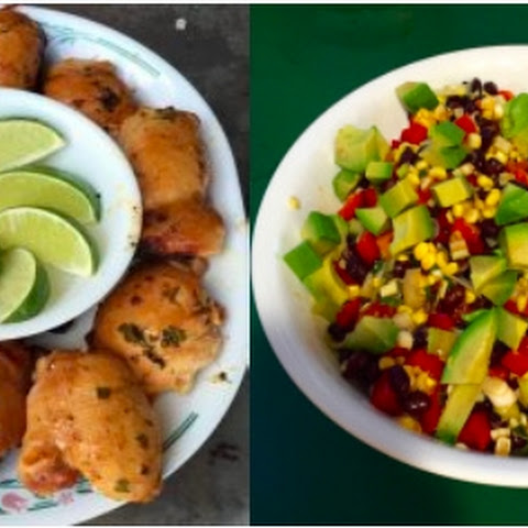 Plank Grilled Chipotle-Lime Chicken With Black Bean, Corn, & Avocado Salad