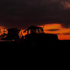 He works until the Sun goes down  by Franz  Adolf - Transportation Other ( sunset, transportation, tractor )