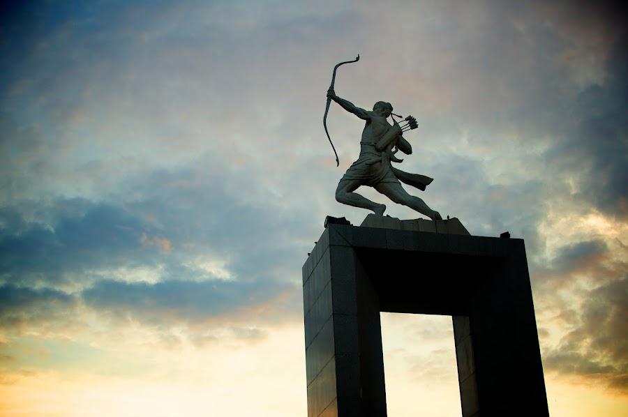 Heavenly Shooter by Ferdinand Neman - Buildings & Architecture Statues & Monuments ( archer, colour, statue, sky, dawn )