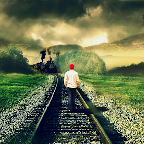 Walking on the rail track by Shahril Khmd - Illustration Sci Fi & Fantasy ( life, railway, fog, death, track, train, men, dead, walk, smoke, man, live )