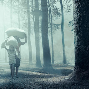 Morning Haze by Amril Nuryan - People Street & Candids ( haze, fog, forest, morning, pine, people, misty )