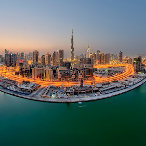Sunset in Dubai by Andrew Madali - Buildings & Architecture Architectural Detail ( fisheye, sunset, dubaii, uae, city )