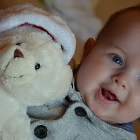 Teddy and me by Zsuzsi Zsidai - Babies & Children Babies ( bear, babies, christmas, first, teddy )