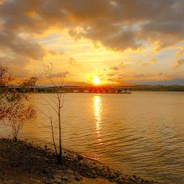 Golden Evening  by Barbara Horner - Landscapes Sunsets & Sunrises ( clouds, water, sunset, light, sun, golden )
