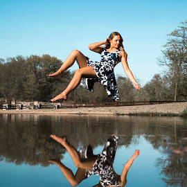 River Peace by Kyle Re - Digital Art People ( reflection, color, natural, beauty, kylerecreative, portrait, girl, people, water, beautiful, hover, floating, flying, river, levitation )