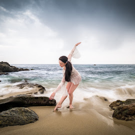 Bow to you by Patrick Miyoshi - People Portraits of Women ( ballerina portrait woman oceanscape model )