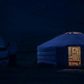 Yurt by Tsatsralt Erdenebileg - City,  Street & Park  Night ( nomadic, night photography, yurt, wildlife, traditional, mongolian, night shot, moonlight )