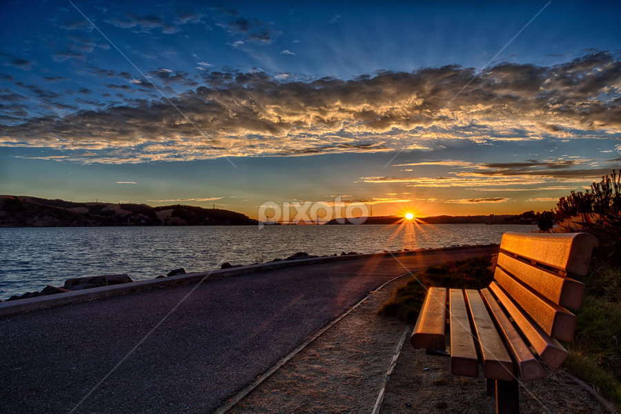 The Bench by Kevin Denton - Landscapes Sunsets & Sunrises ( bench, sunsets, landscape,  )
