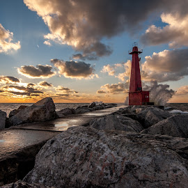 Pere Marquette sunset by Calvin Morgan - Landscapes Sunsets & Sunrises ( nikon d700, lake michigan, sunset, lighthouse, muskegon michigan, landscape, pere marquette, crashing water )