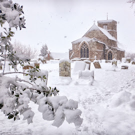 Snow falling in Northamptonshire, England by Simon Harding - Landscapes Weather ( church, christmas, snowing, rural, graveyard, december, england, simonharding, winter, cold, churchyard, parish, snow, midlands, northamptonshire, aw130, nikon, english )