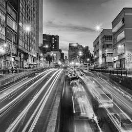 Trail lights at Villazón avenue by Gary Valenzuela - City,  Street & Park  Street Scenes ( long exposure, la paz, bolivia, golden hour, street photography )