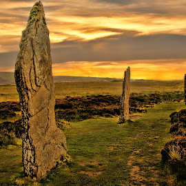 Orkney Islands Scotland by Gianluca Presto - Landscapes Prairies, Meadows & Fields ( orkney islands, scotland, scozia, old, colorful, prairies, monoliths, scottish, orcadi, mistery, orkney, misterious, stenness, sky, monolith, neolitic, , relax, tranquil, relaxing, tranquility )